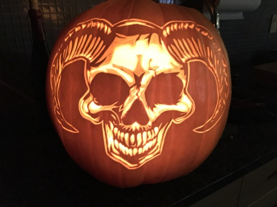 Devil Skull Pumpkin Carving